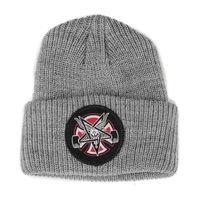 Independent x Thrasher Pentagram Cross Heather Grey Long Shoreman Beanie