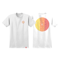 Spitfire Classic Swirl White Red Yellow Mens Short Sleeve T Shirt