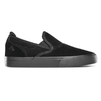 Emerica The Wino G6 Slip-On Black Black Youth Suede Skateboard Shoes