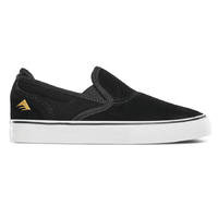 Emerica The Wino G6 Slip-On Black White Gold Youth Suede Skateboard Shoes