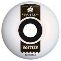 The 4 Skateboard Co Softies White 54mm 85a Skateboard Wheels