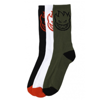 Spitfire Bighead Up White Black Olive Mens 8 to 12 USA Crew Socks 3 Pack