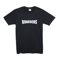 Boarders Chest Print Black Mens Box Fit Tee