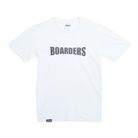 Boarders Chest Print White Mens Box Fit Tee