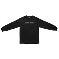 Passport Official Sweaty Embroidery Black Mens Longsleeve Tee