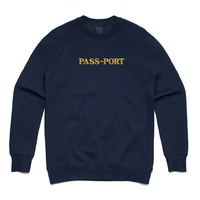 Passport Official Gold Embroidery Navy Sweater