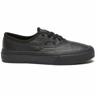Vans Authentic Black Black Youth Leather Skateboard Shoes