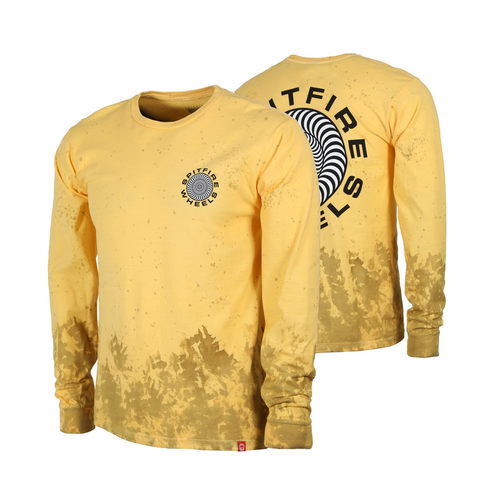 Spitfire Classic 87' Swirl Yellow Wash Mens Long Sleeve Shirt [Size: Small]