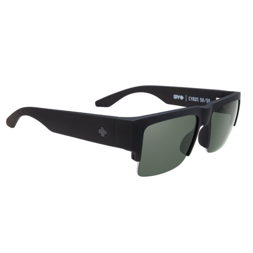 Spy Cyrus 5050 Soft Matte Black Sunglasses HD+ Grey Green Polarized Lens