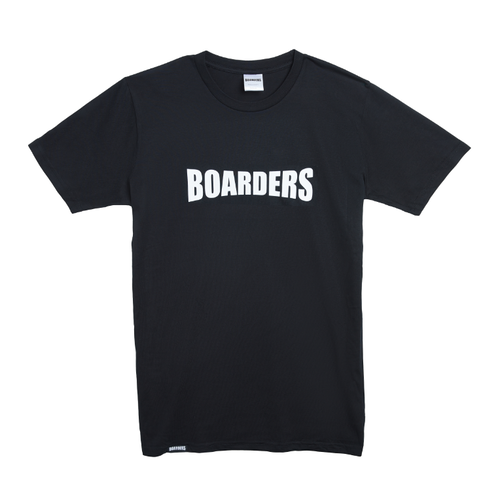 Boarders Chest Print Black Mens Box Fit Tee [Size: Medium]