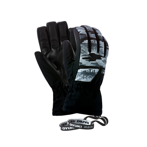 Oyuki Kuma Grey Camo Black Mens Snowboard Gloves [Size: Medium]